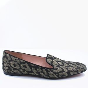 JCREW Smoking Slippers Loafers in Metallic Leopard